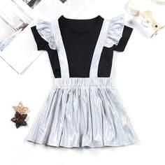 Однотонная футболка и юбка на лямках для девочек Shein