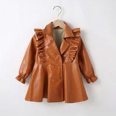 Двубортное пальто из искусственной кожи с оборкой для девочек Shein