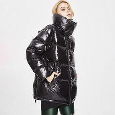 Пуховое пальто на молнии с высоким воротником Shein