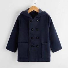 Двубортное пальто с капюшоном и карманом для мальчиков Shein