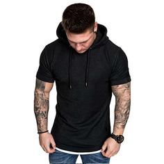 Мужская футболка с капюшоном на кулиске Shein