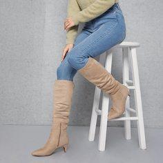 Ботинки на низком каблуке из искусственной замши Shein