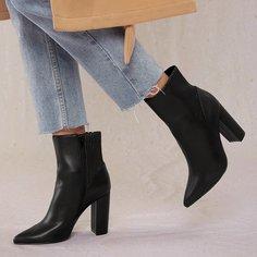 Остроконечные ботинки на высоком каблуке из искусственной кожи Shein