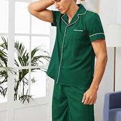 Мужская пижама с контрастной отделкой Shein