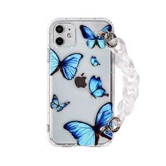 Чехол для iPhone с принтом бабочки и ремешком Shein