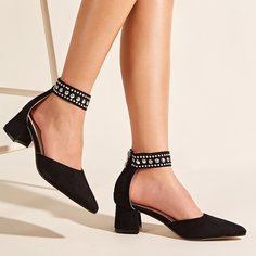 Туфли-лодочки на массивном каблуке с заклепками Shein