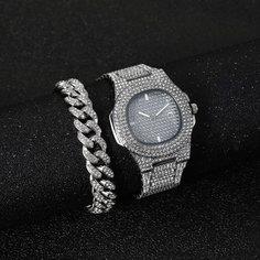 1шт мужские кварцевые наручные часы со стразами и 1шт браслет-цепочка Shein