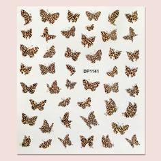 Наклейка для ногтей в форме бабочки с леопардовым принтом 1 лист Shein