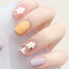 24шт накладные ногти с узором цветка и 1 лист лента Shein