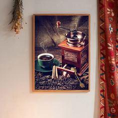 Стенная живопись с принтом кофе без рамки Shein