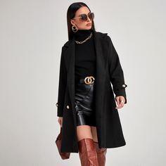 Двубортное пальто с карманом и лацканами Shein