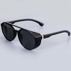 Мужские солнцезащитные очки в круглой оправе в стиле ретро Shein