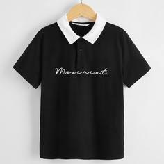 Рубашка-поло с текстовым принтом для мальчиков Shein