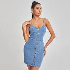 Облегающее джинсовое платье с пуговицами Shein
