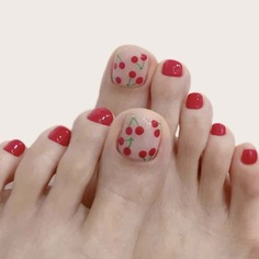 24шт накладные ногти на пальце ноги и 1 лист лента Shein