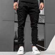 Черный Застежка Одноцветный Улица Мужские брюки Shein