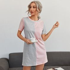 Контрастный цвет Повседневный Платье Shein