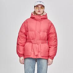 стеганое пальто с капюшоном и поясом Shein