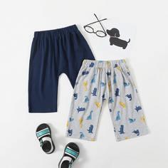 2шт спортивные брюки с мультипликационным принтом для мальчиков Shein