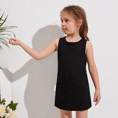 Однотонное платье в рубчик для девочек Shein