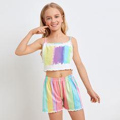Волнистый край Контрастный цвет милый Домашняя одежда для девочек Shein