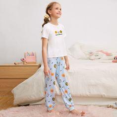 Пижама с текстовым и животным принтом для девочек Shein