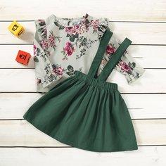 Сарафан-юбка и цветочный топ с оборками для девочек Shein