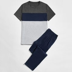 Контрастный цвет Повседневный Мужская домашняя одежда Shein