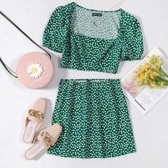 Топ с квадратным воротником и юбка с цветочным принтом Shein