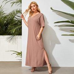 Платье-футболка размера плюс с разрезом Shein