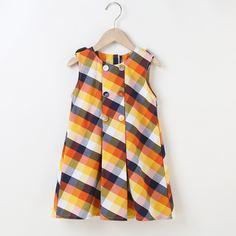 Двубортное платье в клетку для девочек Shein