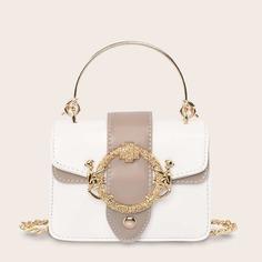 Двухцветная сумка-портфель с металлическим декором Shein