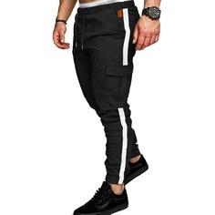 Черный Карман Контрастный Повседневный Мужские брюки Shein
