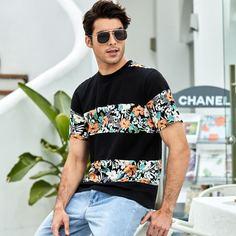 Мужская футболка с короткими рукавами и мозаичным цветочным узором Shein