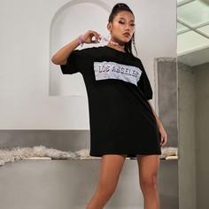 Платье-футболка с текстовым принтом Shein