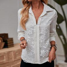 с вышивкой Цветочный Повседневный Блузы Shein