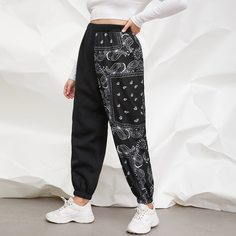 Пейсли Спортивные брюки размер плюс Shein