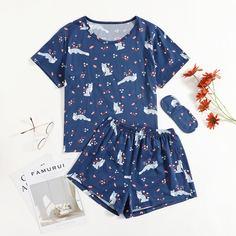 Пижама и маска для сна с принтом лисы и цветов Shein