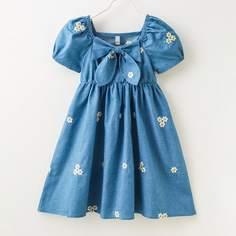 Джинсовое платье с бантом и цветочной вышивкой для девочек Shein