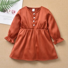 с оборками Одноцветный Повседневный Платья для малышей Shein