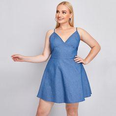 на молнии Одноцветный Элегантный Джинсовые платья размер плюс Shein