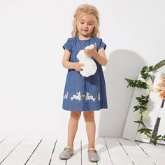 на пуговицах Мультяшный принт милый Джинсовые платья для девочек Shein