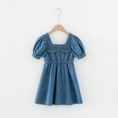 Джинсовое платье с пышным рукавом для девочек Shein