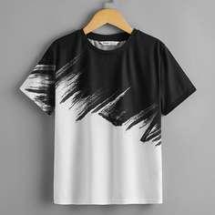 Контрастная футболка для мальчиков Shein