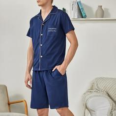 с карманами Лозунг Повседневный Мужская домашняя одежда Shein