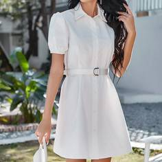 Платье-рубашка с поясом и пышным рукавом Shein