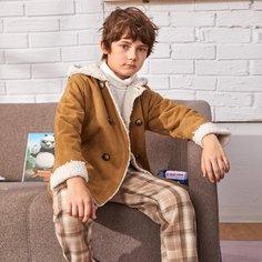 Двубортное пальто с капюшоном для мальчиков Shein