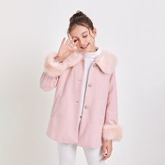 с карманами Одноцветный Повседневный Пальто для девочек Shein