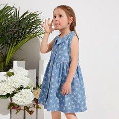 Пуговица Животный Повседневный Джинсовые платья для девочек Shein