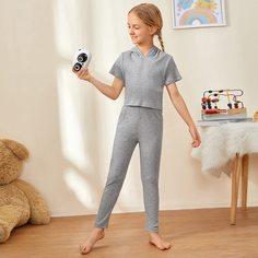 Трикотажная пижама с капюшоном для девочек Shein